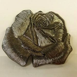 Belt Buckle, Rose, Silver Tone, Floral, Boho Chic